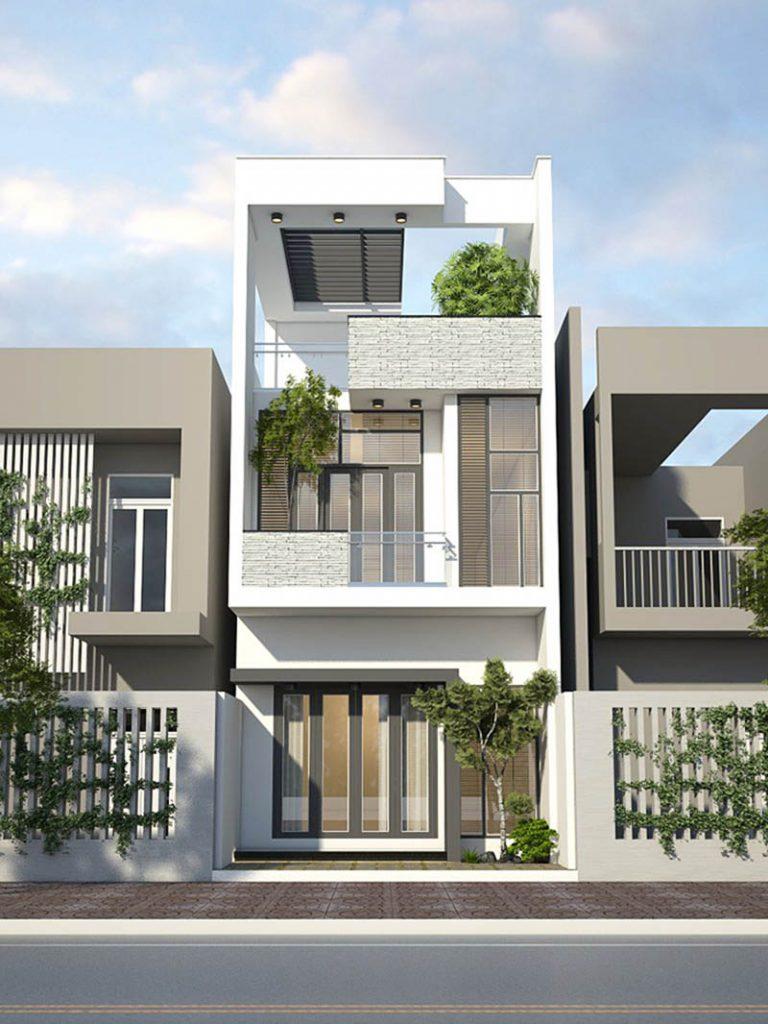 Thiết kế mặt tiền nhà phố 2 tầng 1 tum