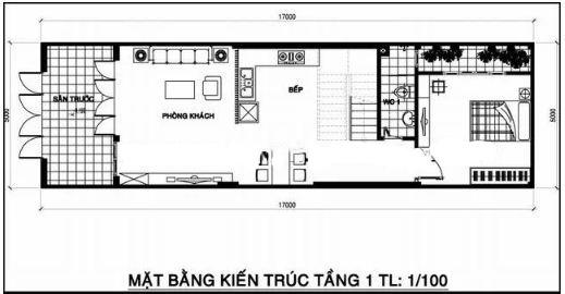 Mặt bằng thiết kế tầng 1 nhà phố 2 tầng 1 tum