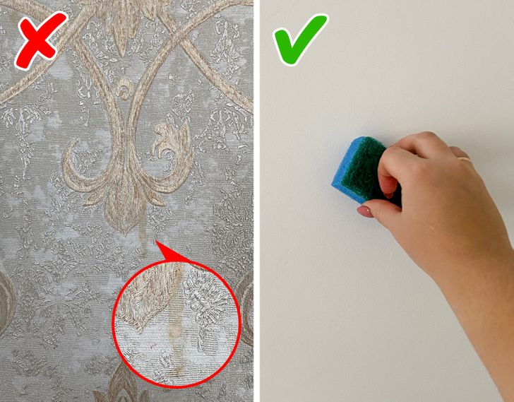 Tránh dùng giấy dán tường bề mặt gồ ghề, khó lau chùi