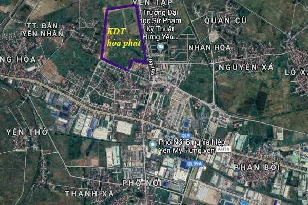 Vị trí dự án Khu đô thị Hòa Phát Phố Nối