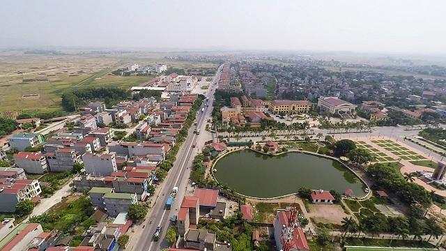 Một góc tỉnh Bắc Ninh nhìn từ trên cao có hồ nước và nhiều công trình nhà ở