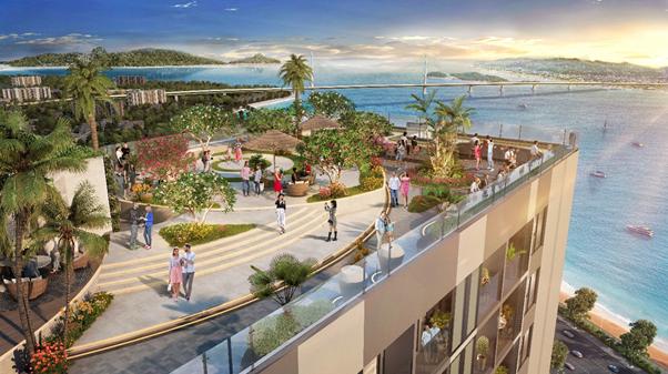 Sky Garden trên tầng cao nhất dự án The Ruby Hạ Long là điểm đến thư giãn cho cư dân