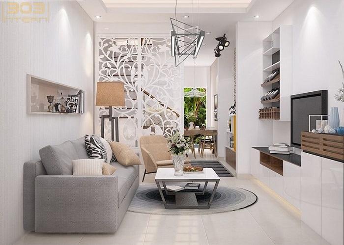 Vách ngăn CNC phân chia không gian phòng khách với cầu thang và phòng bếp