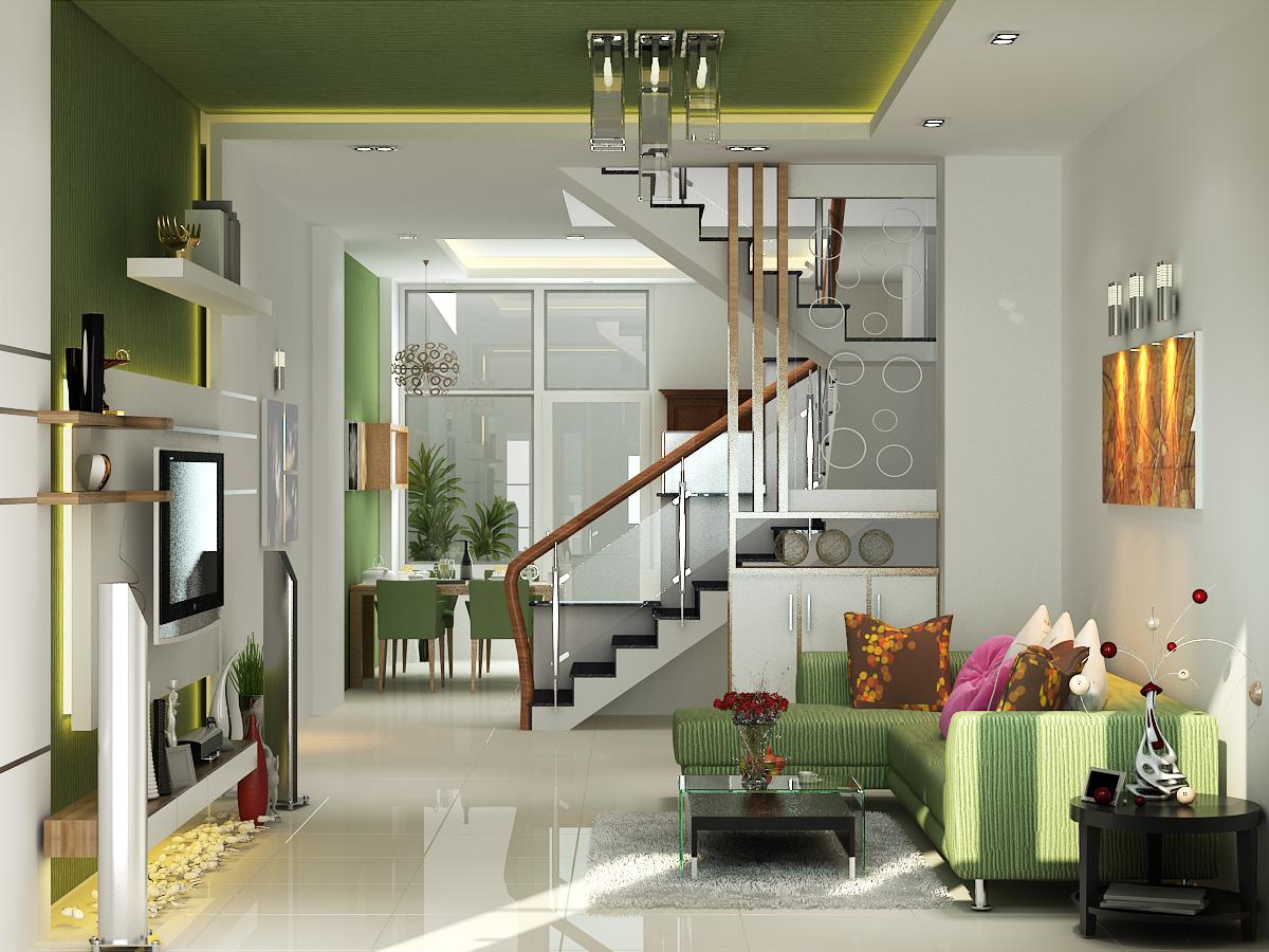 Thiết kế phòng khách liền bếp cho nhà phố