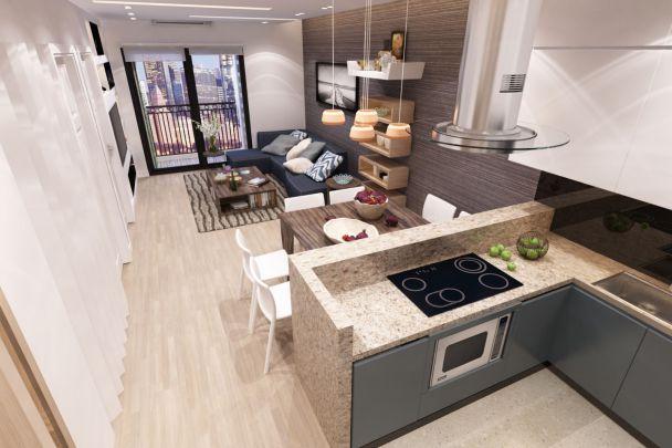 Thiết kế phòng khách liền bếp tối ưu không gian nhỏ