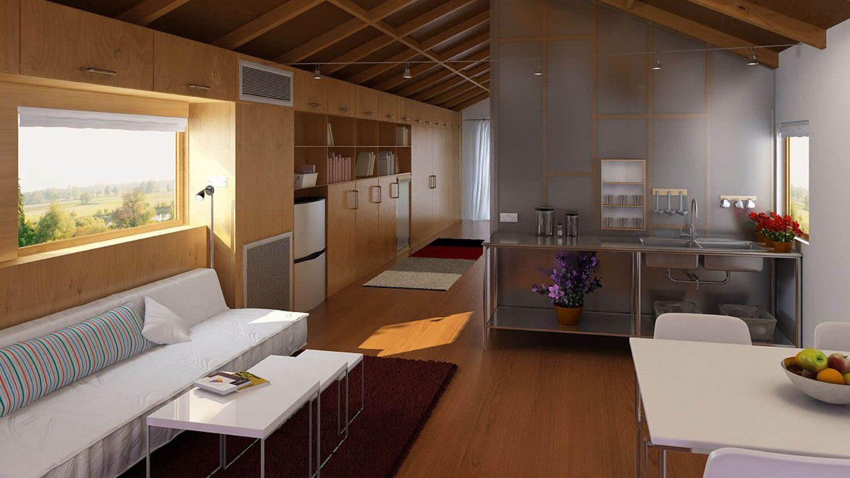 Thiết kế phòng khách liền bếp hiện đại