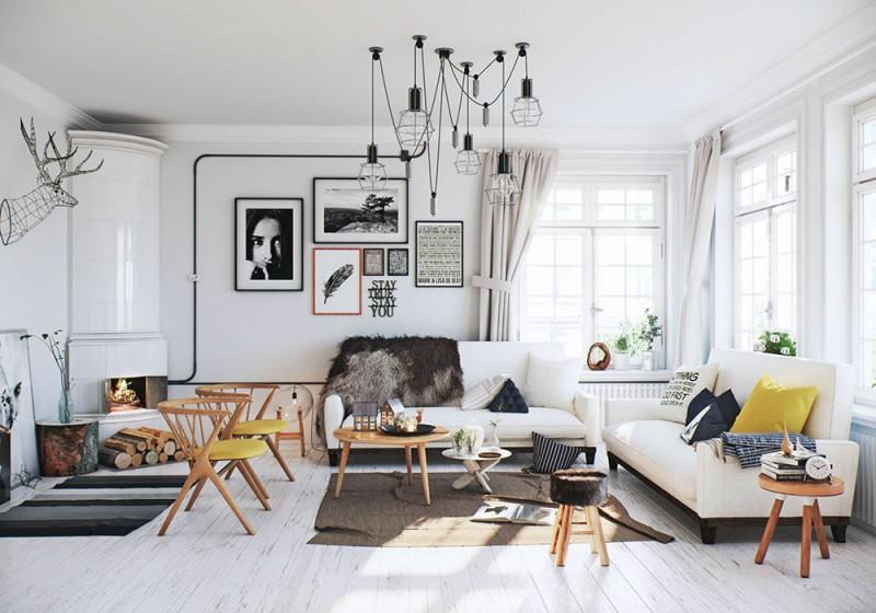 Lò sưởi trong phong cách thiết kế nội thất Scandinavia