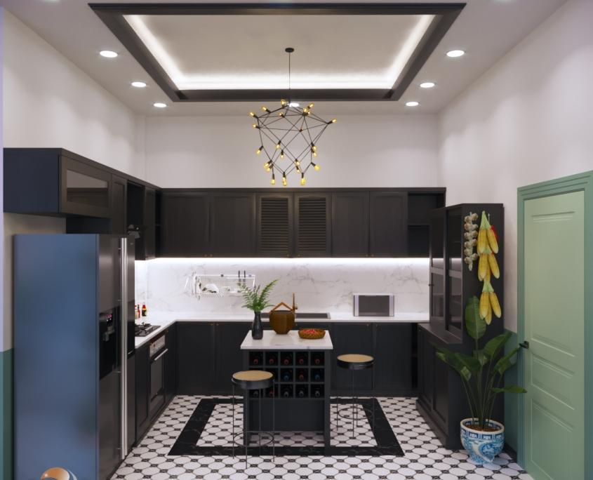 Thiết kế bếp phong cách Đông Dương