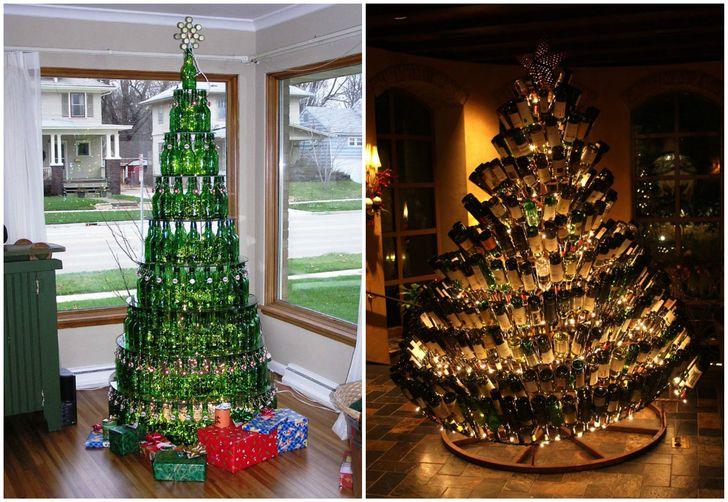 Cây thông Noel xếp từ chai bia