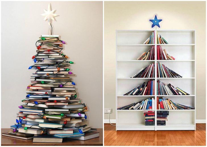 Cây thông Noel xếp từ sách