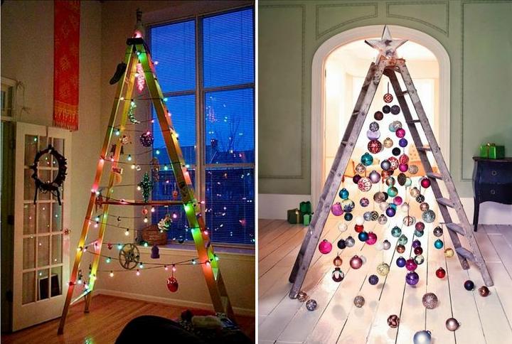 Trang trí cây thông Noel sáng tạo với thang