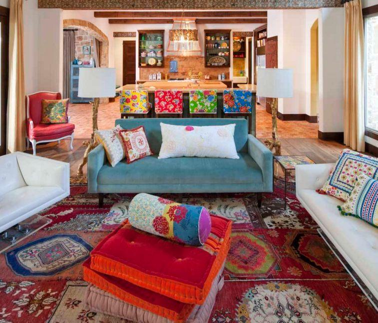 Không gian nội thất Bohemian sử dụng nhiều chất liệu, màu sắc