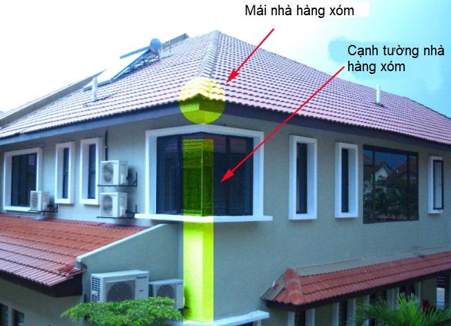 góc nhọn xung chiếu vào cửa chính ngôi nhà