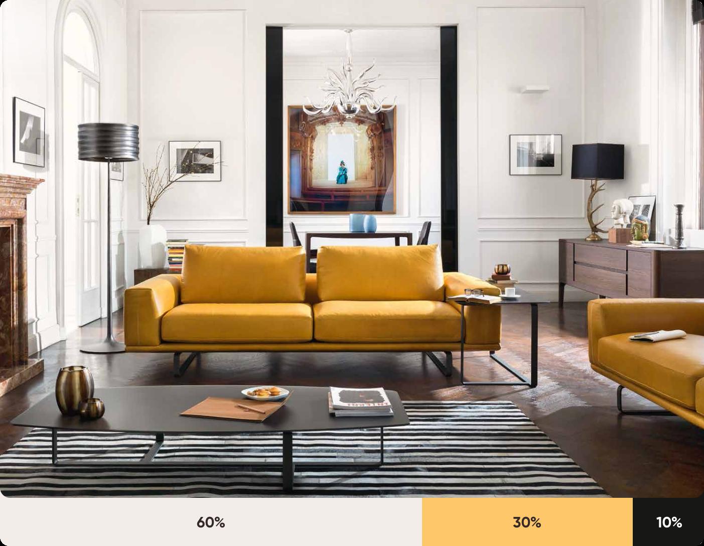 Gợi ý màu sơn nhà đẹp theo quy tắc 60 - 30 - 10