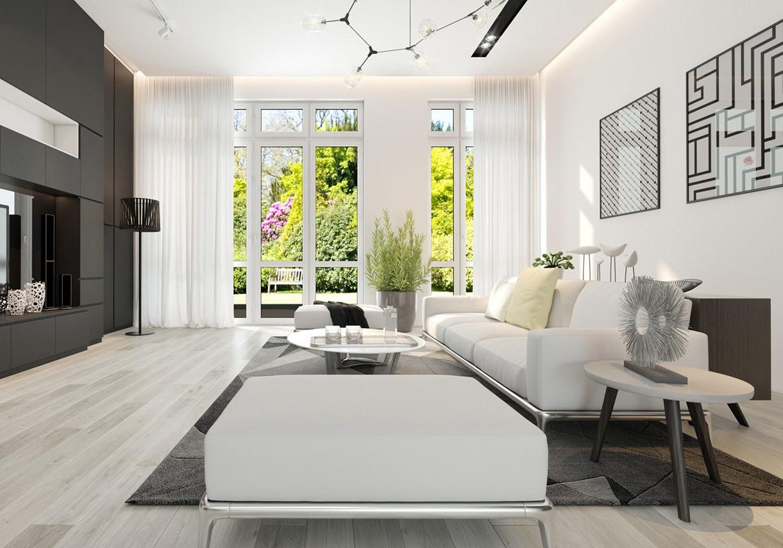phòng khách sơn màu trắng