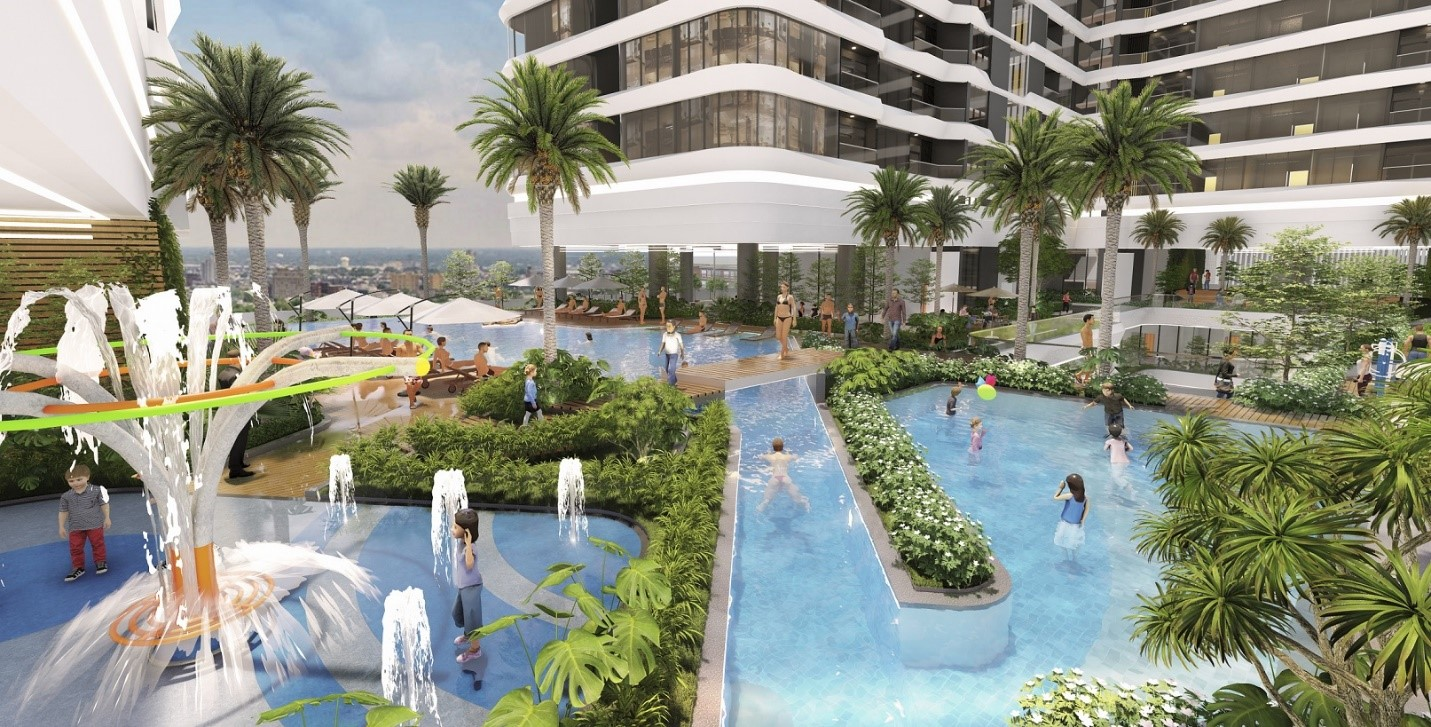 bể bơi dự án bất động sản hạng sang