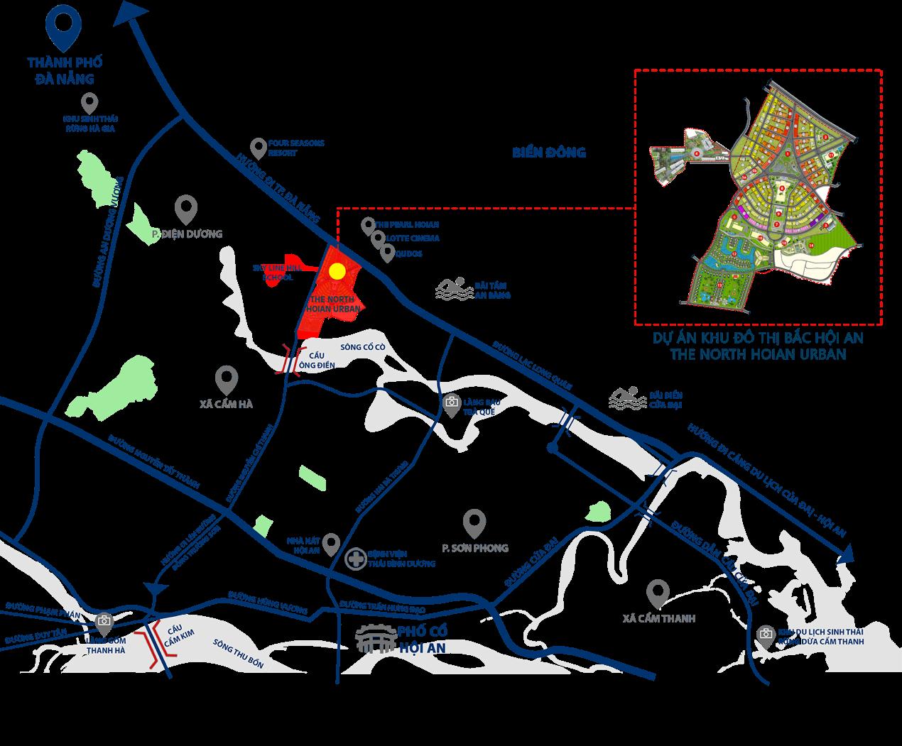 Vị trí dự án Khu đô thị Bắc Hội An - The North Hoi An Urban