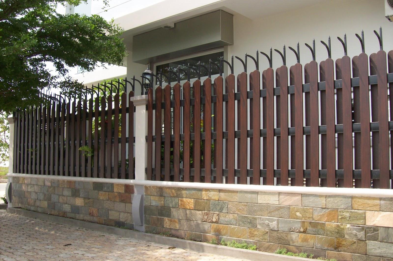 Mẫu hàng rào gỗ đơn giản