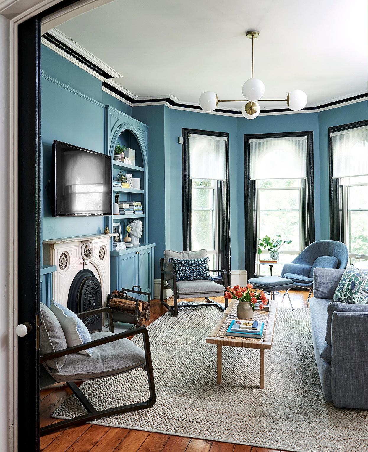 phòng khách màu xanh dương