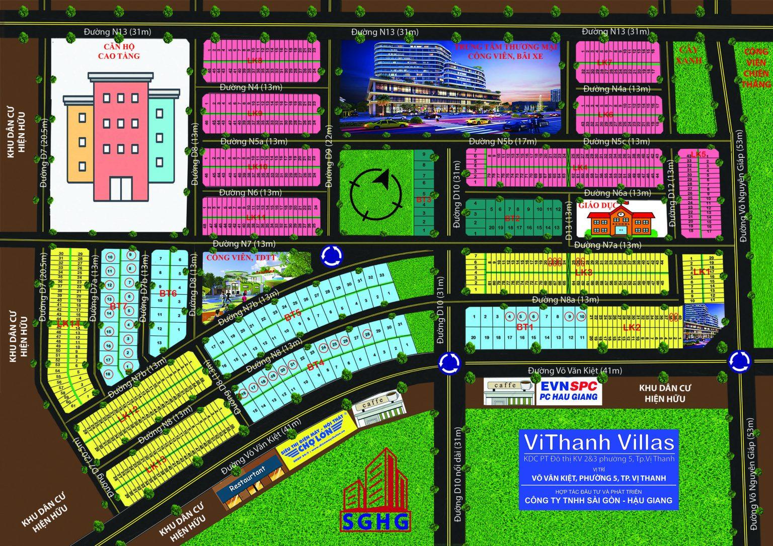 Mặt bằng tổng thể dự án ViThanh Villas