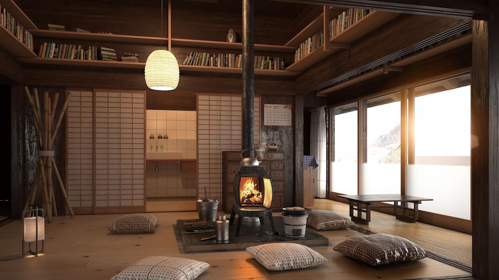 Phòng sinh hoạt chung phong cách Zen