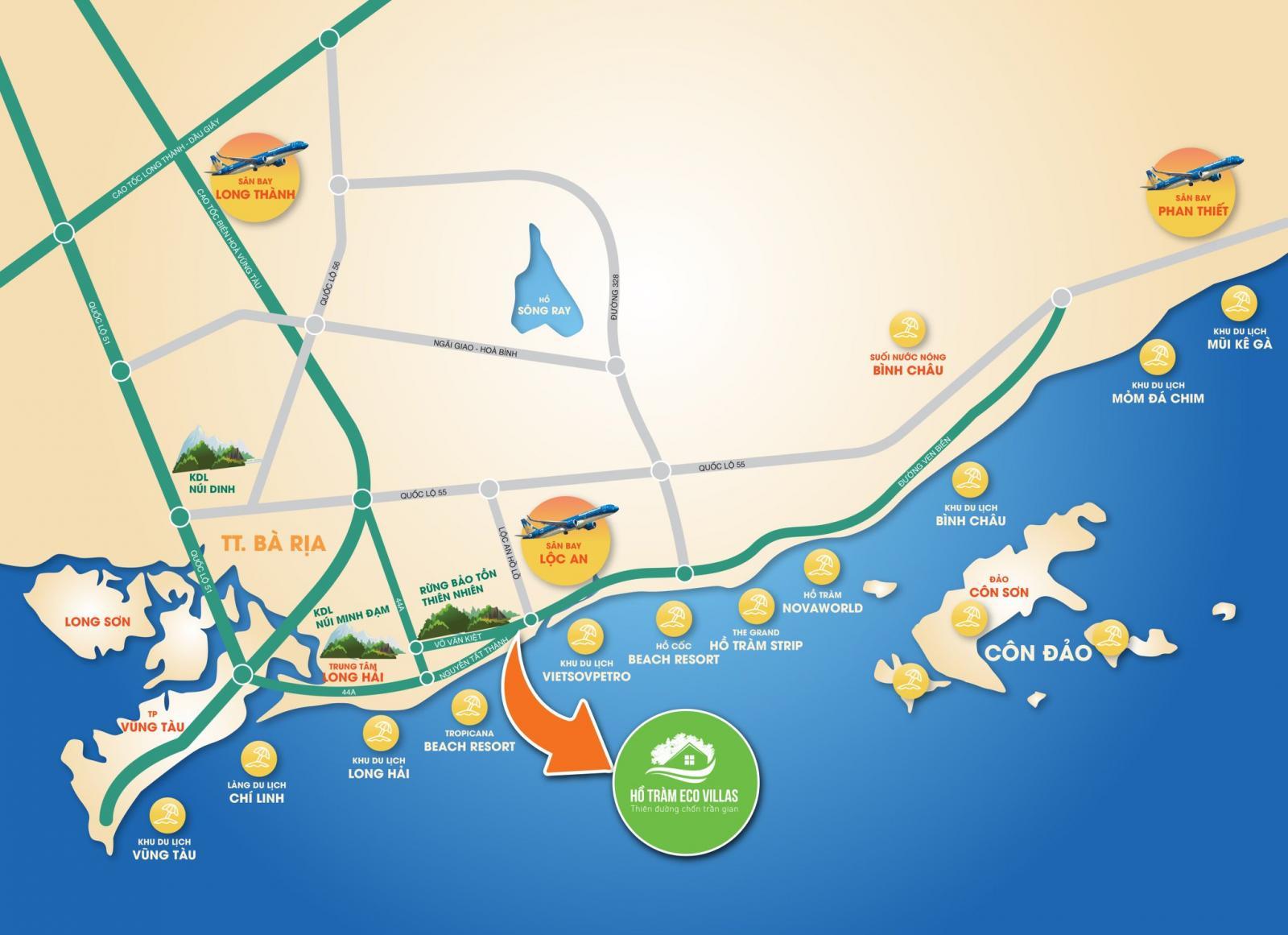 Vị trí dự án Hồ Tràm Eco Villas