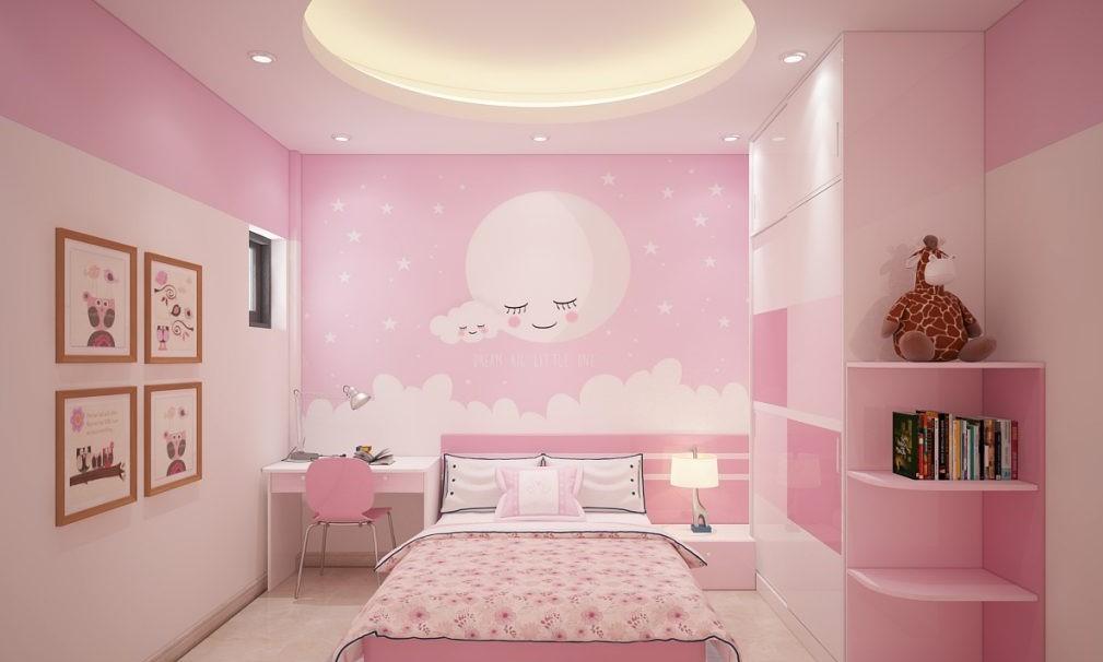 Phối cảnh phòng ngủ bé gái