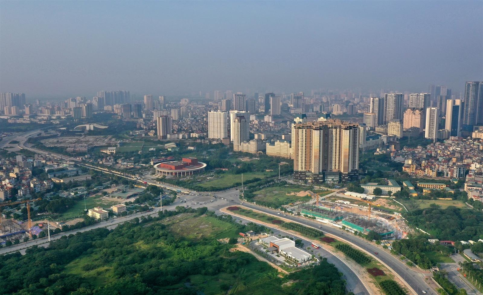 thành phố có nhiều nhà cao tầng nhìn từ trên cao