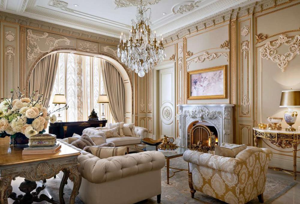 nội thất cổ điển gam trắng và vàng đồng