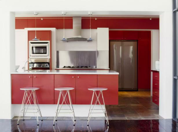 phòng bếp màu đỏ - trắng