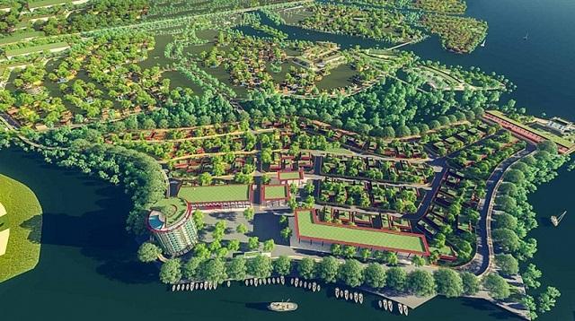 phối cảnh khu đô thị có nhiều cây xanh, sông nước