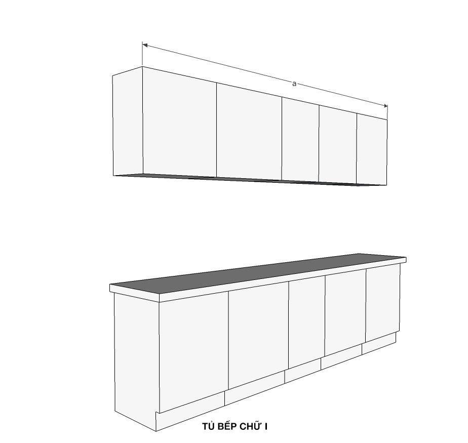 Cách tính kích thước tủ bếp một phía chữ I