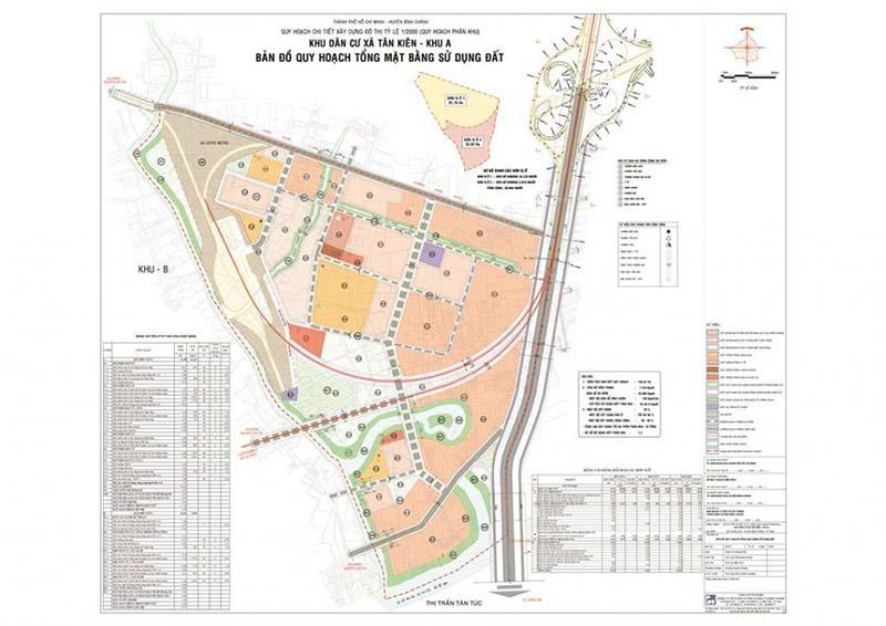 Bản đồ quy hoạch tổng mặt bằng sử dụng đất xã Tân Kiên huyện Bình Chánh