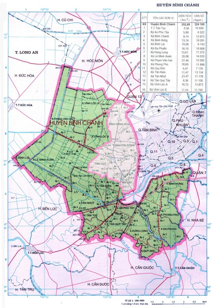 Bản đồ huyện Bình Chánh