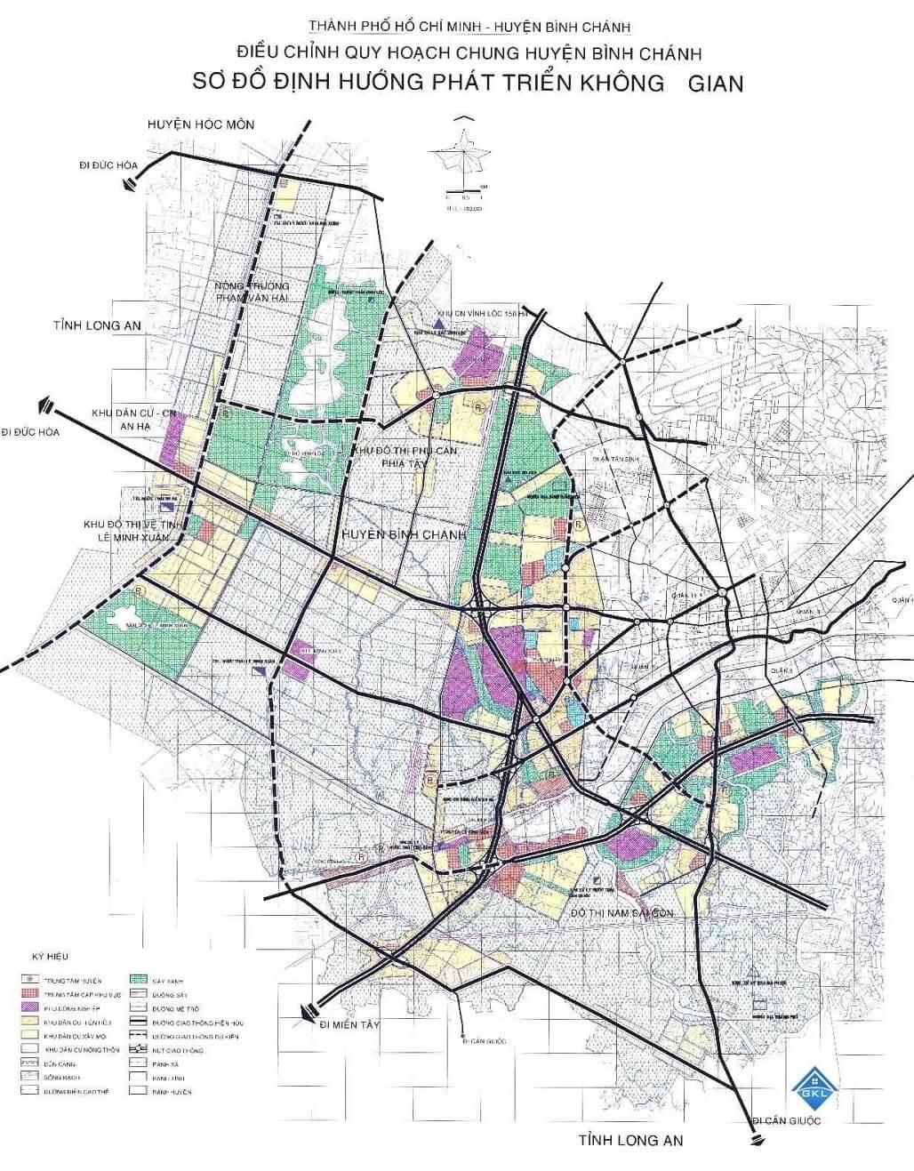 Sơ đồ định hướng quy hoạch huyện Bình Chánh 2020-2030