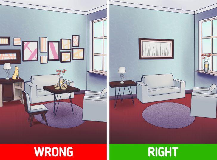 Sai lầm thiết kế nội thất: sử dụng nhiều đồ nội thất, trang trí nhỏ làm rối không gian