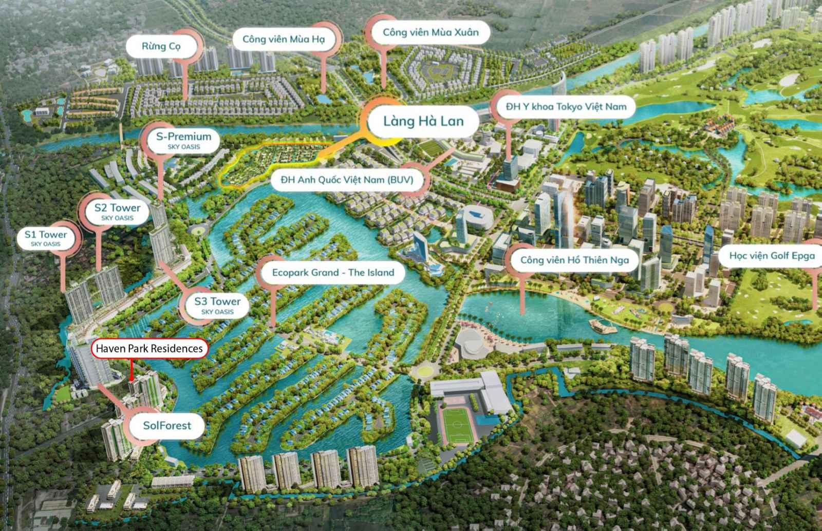Vị trí Khu căn hộ Haven Park trong KĐT Ecopark