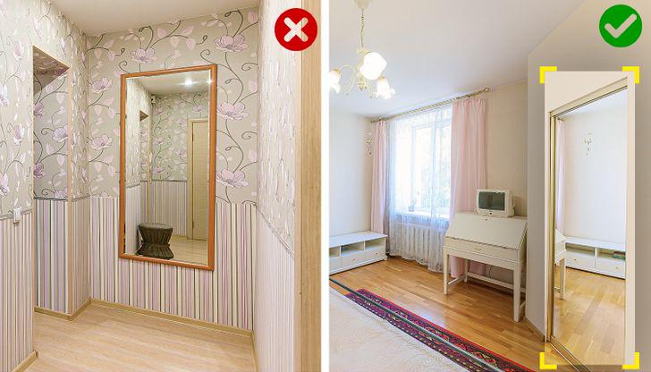 treo gương trên tường