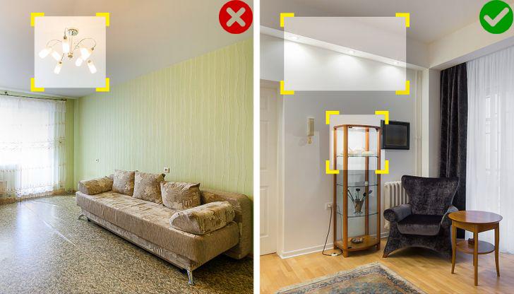 đèn chiếu sáng trong căn hộ nhỏ