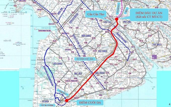 sơ đồ hướng tuyến cao tốc Cần Thơ - Cà Mau