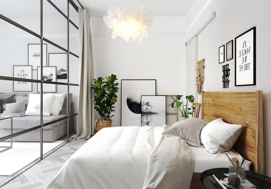 Sử dụng vách kính giúp lấy sáng từ phòng có cửa sổ bên cạnh