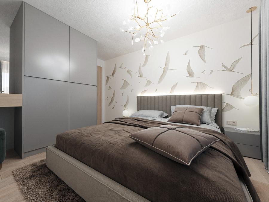 Giấy dán tường họa tiết phù hợp sẽ tạo chiều sâu cho không gian chật hẹp, không có cửa sổ.