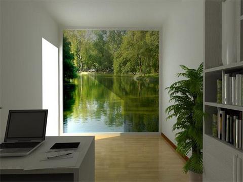Bức tranh chủ đề thiên nhiên tạo hiệu ứng thị giác, khiến căn phòng không cửa sổ như thoáng đãng hơn.