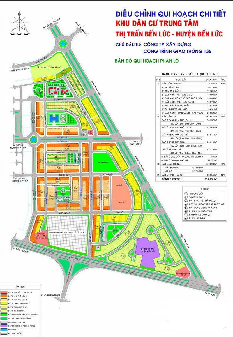 Điều chỉnh quy hoạch chi tiết khu dân cư trung tâm huyện Bến Lức