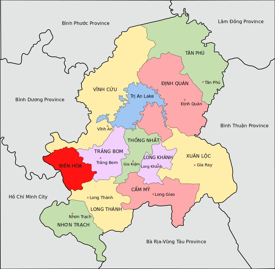 Bản đồ địa lý của thành phố Biên Hòa (vùng màu đỏ)