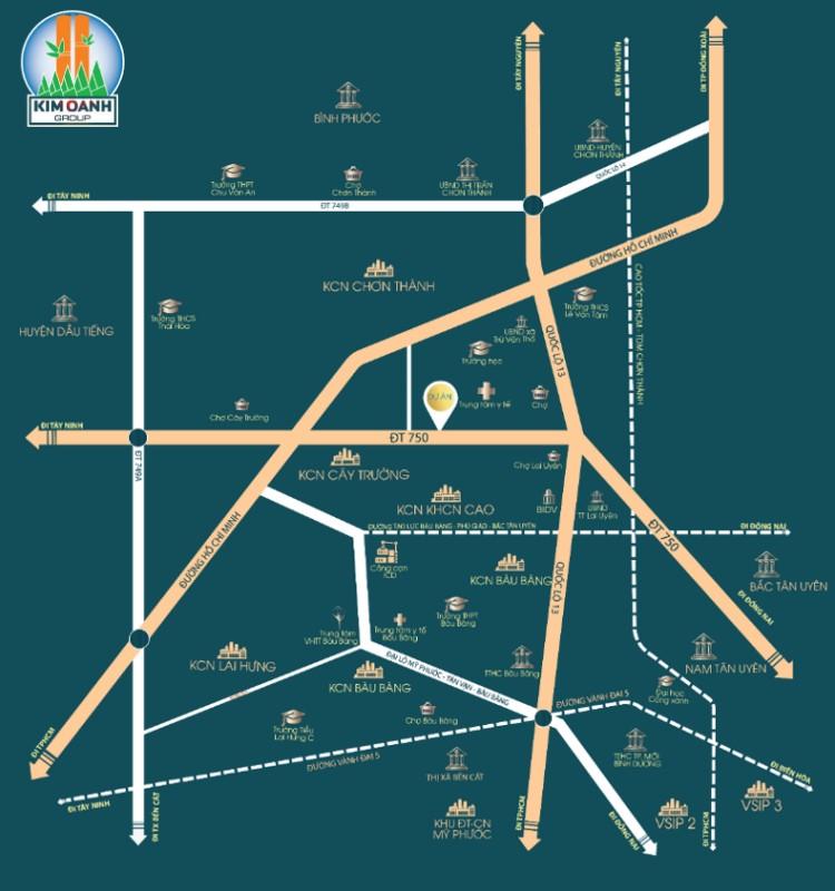 Vị trí dự án Khu nhà ở Bàu Bàng (New Land)