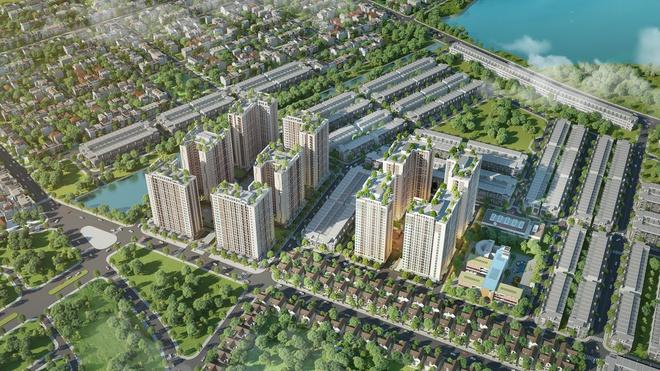 phối cảnh dự án có nhiều tòa nhà cao tầng