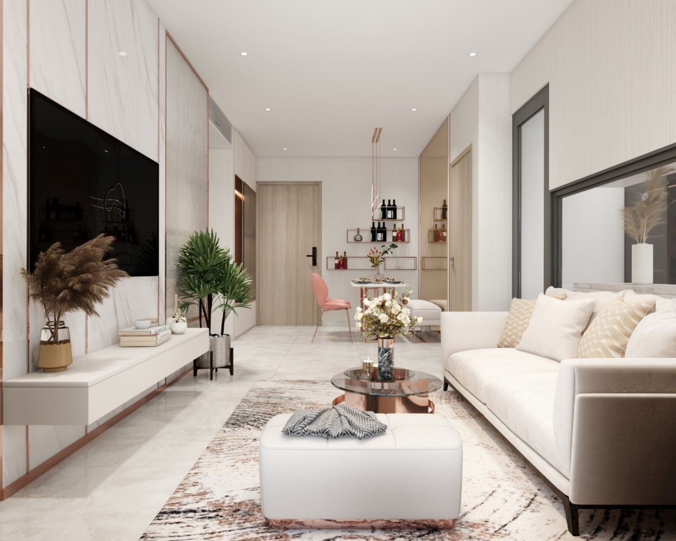 phòng khách căn hộ màu trắng