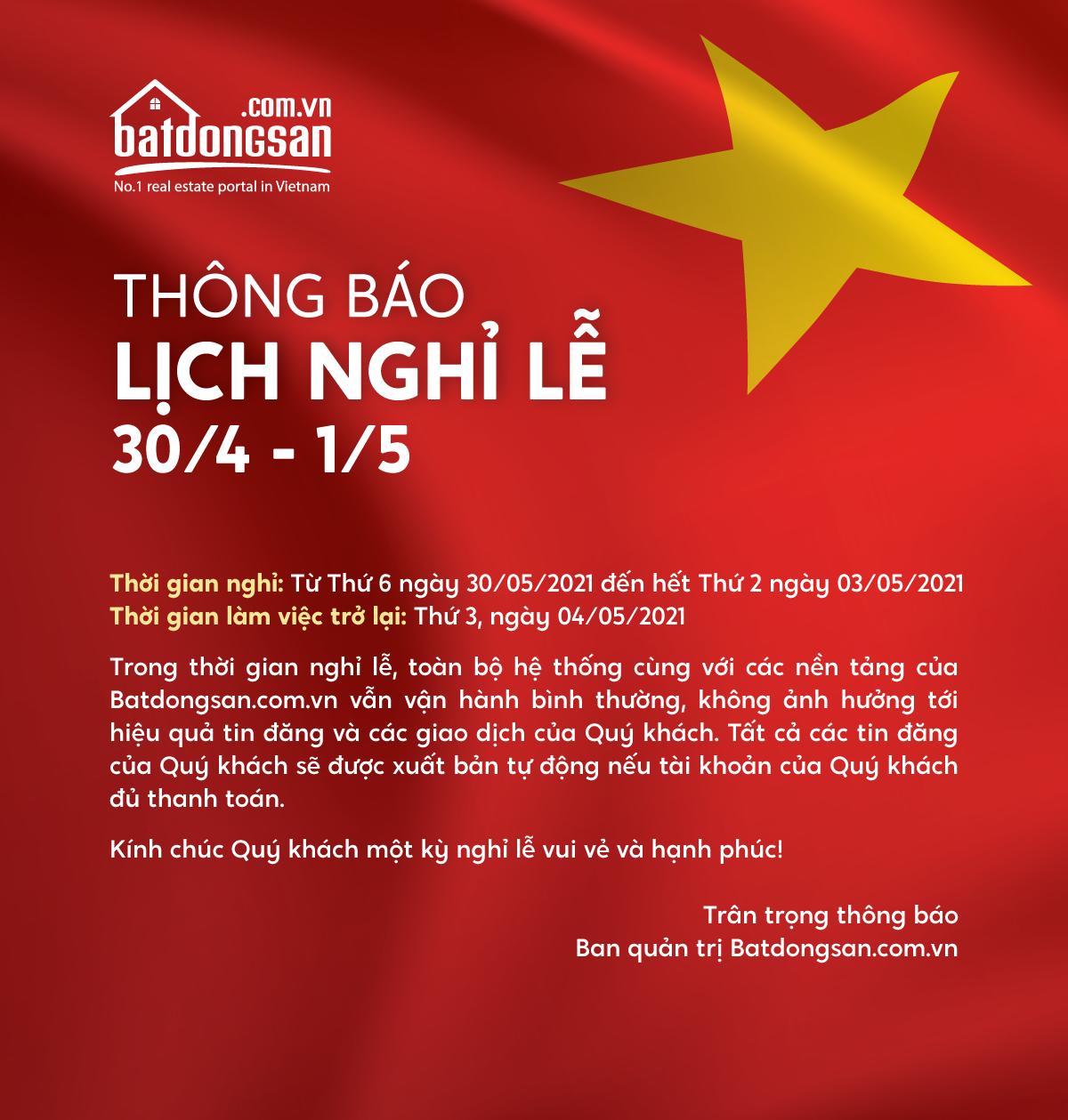 Thông báo nghỉ lễ 30/4 và 1/5/2021 của Batdongsan.com.vn