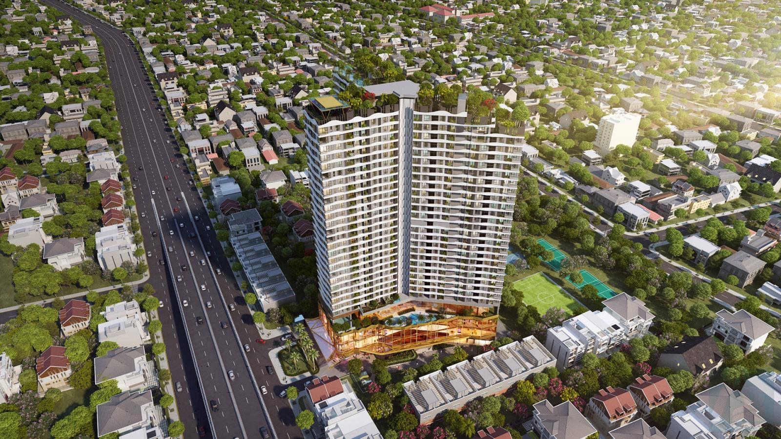 tòa nhà cao tầng nằm trong thành phố, cạnh đường lớn